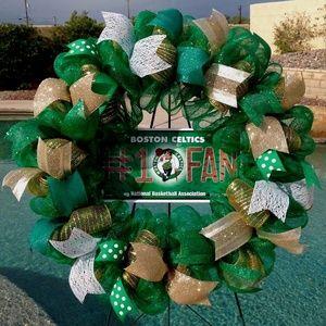 Boston Celtics Deco Mesh Wreath Handmade New